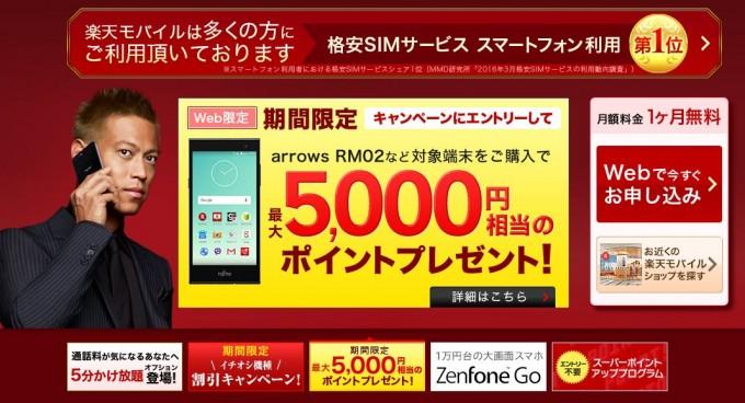 楽天モバイル5000ポイントキャンペーン2