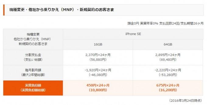 iphone se au価格