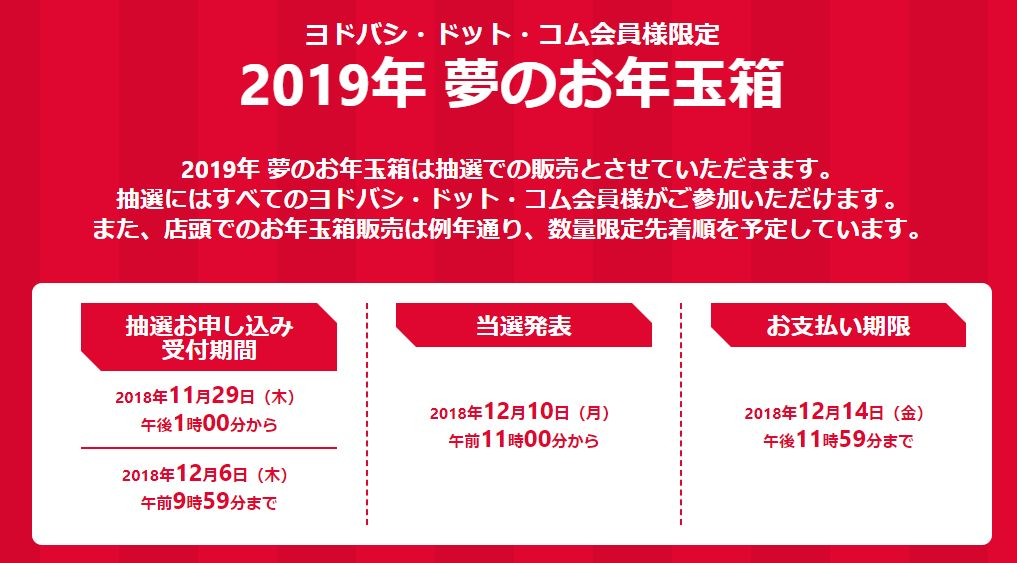 ヨドバシカメラ福袋2019は抽選販売!12/6まで抽選申し込み可!中身の予想も【2019年 夢のお年玉箱 予約、再版情報まとめ】yodobashi